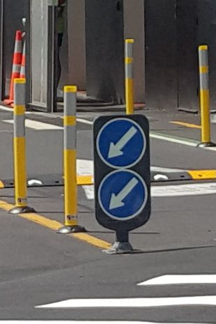 Traffic calming bollards and felxible signage
