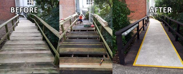 before and after renovation of wooden walkway