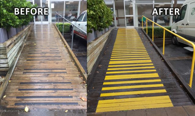 before and after renovation of ramp