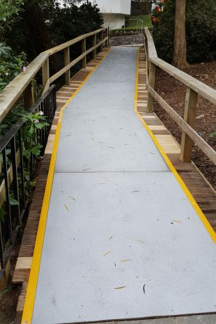 Wooden walkway with Non-Slip panels