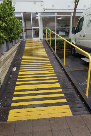 Wooden ramp with bright Non-Slip panels