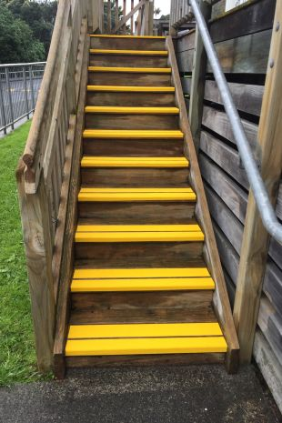 Slippery wooden steps made safe with Anti-Slip tape